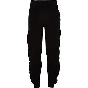 Girls black frill front leggings