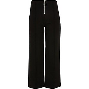 Girls black zip front culotte trousers