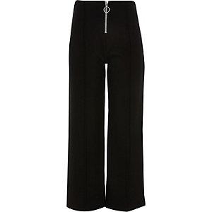 Girls black zip front culotte pants