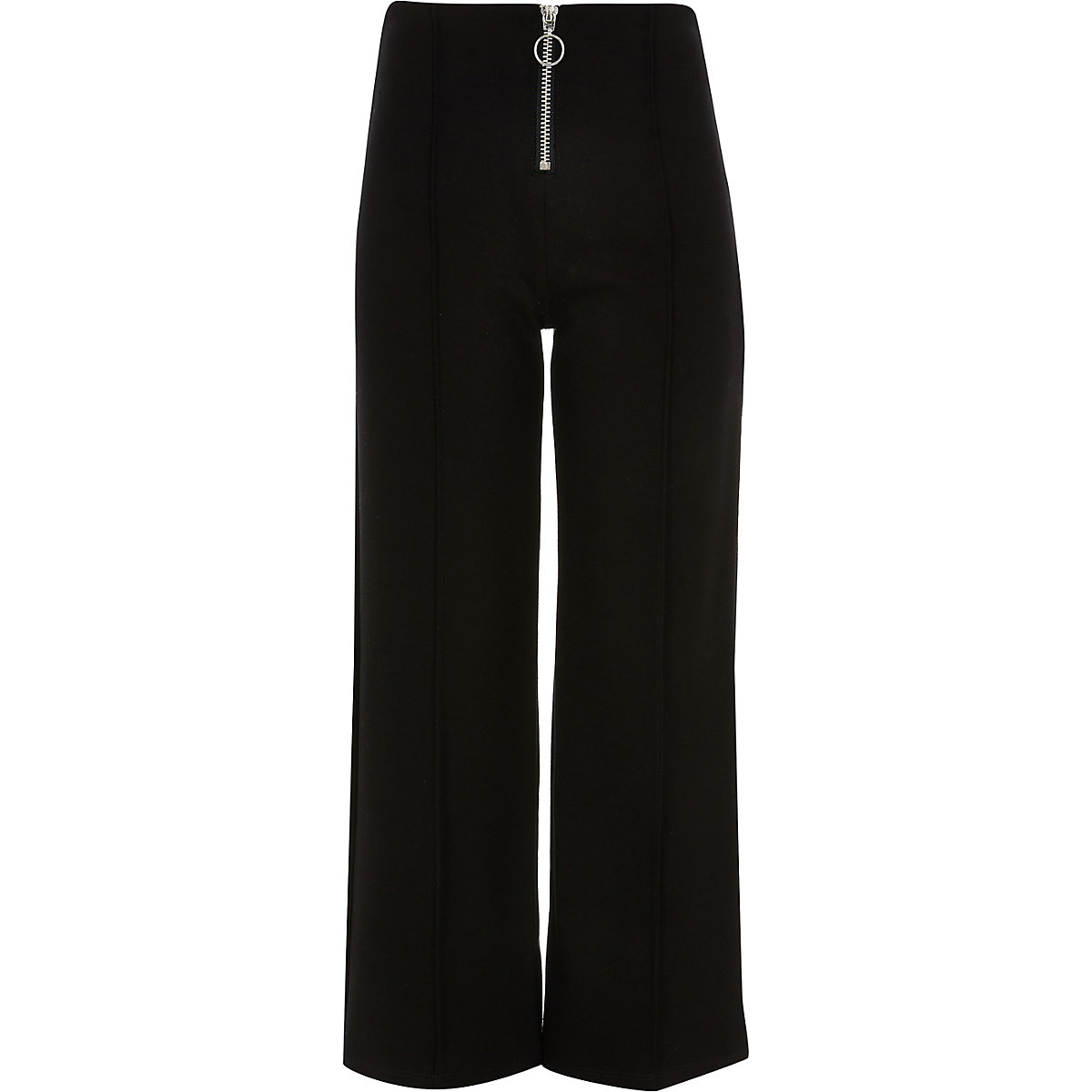 Girls black zip front culotte pants