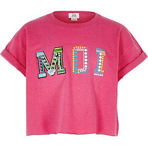 Girls bright pink 'Moi' embellished crop top