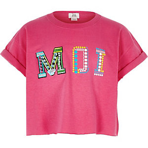Felroze verfraaide crop top met 'Moi'-print voor meisjes