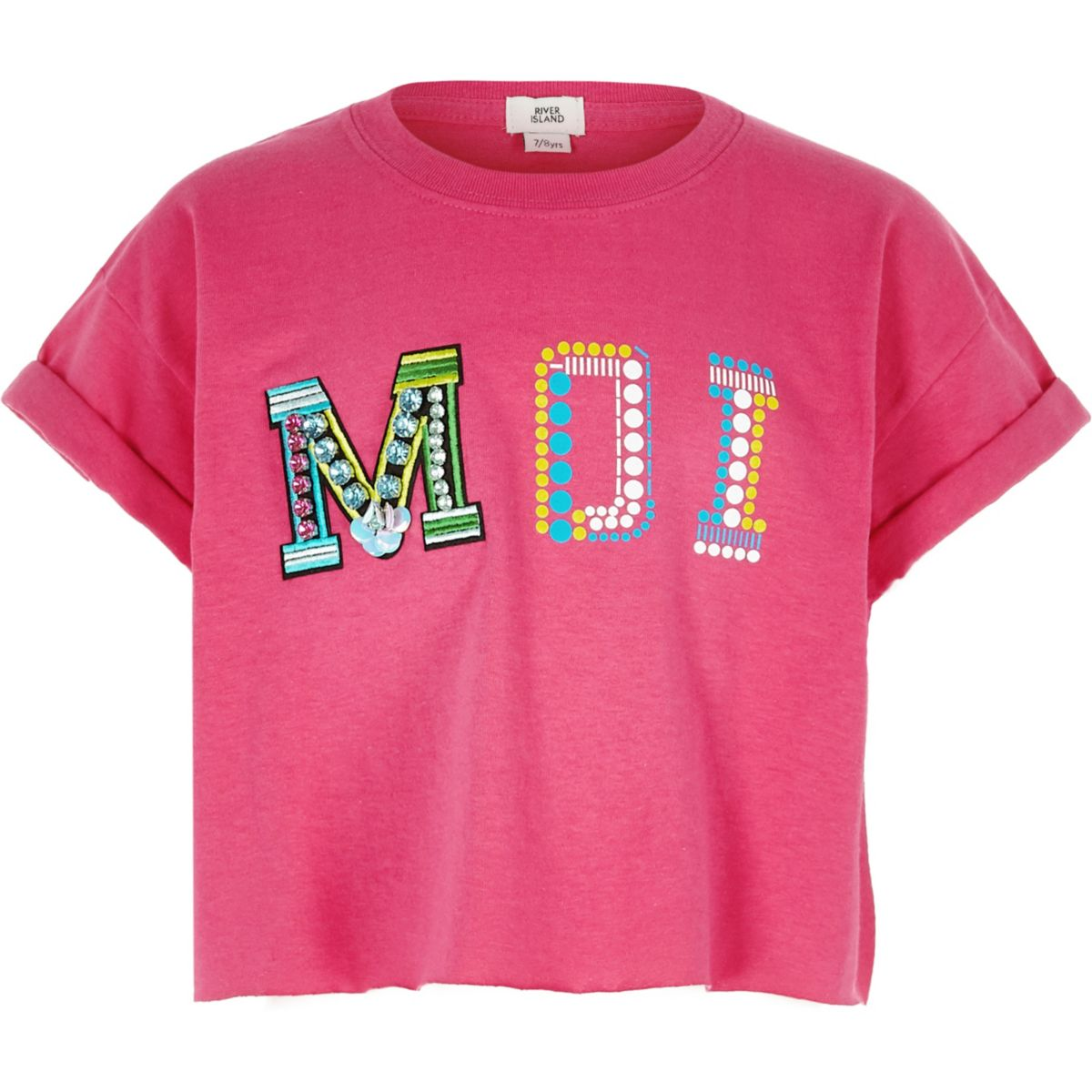 Girls bright pink 'Moi' embellished crop top