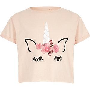 T-shirt court motif licorne rose pour fille