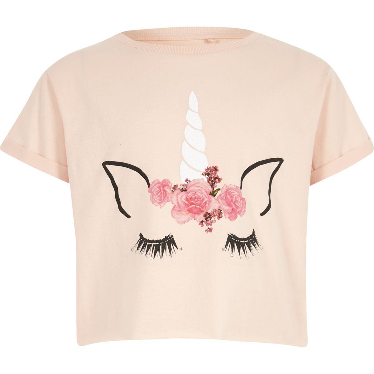 Girls pink unicorn crop T-shirt