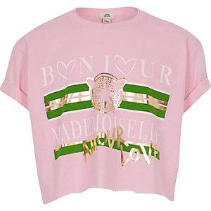Girls pink 'bonjour' print crop T-shirt