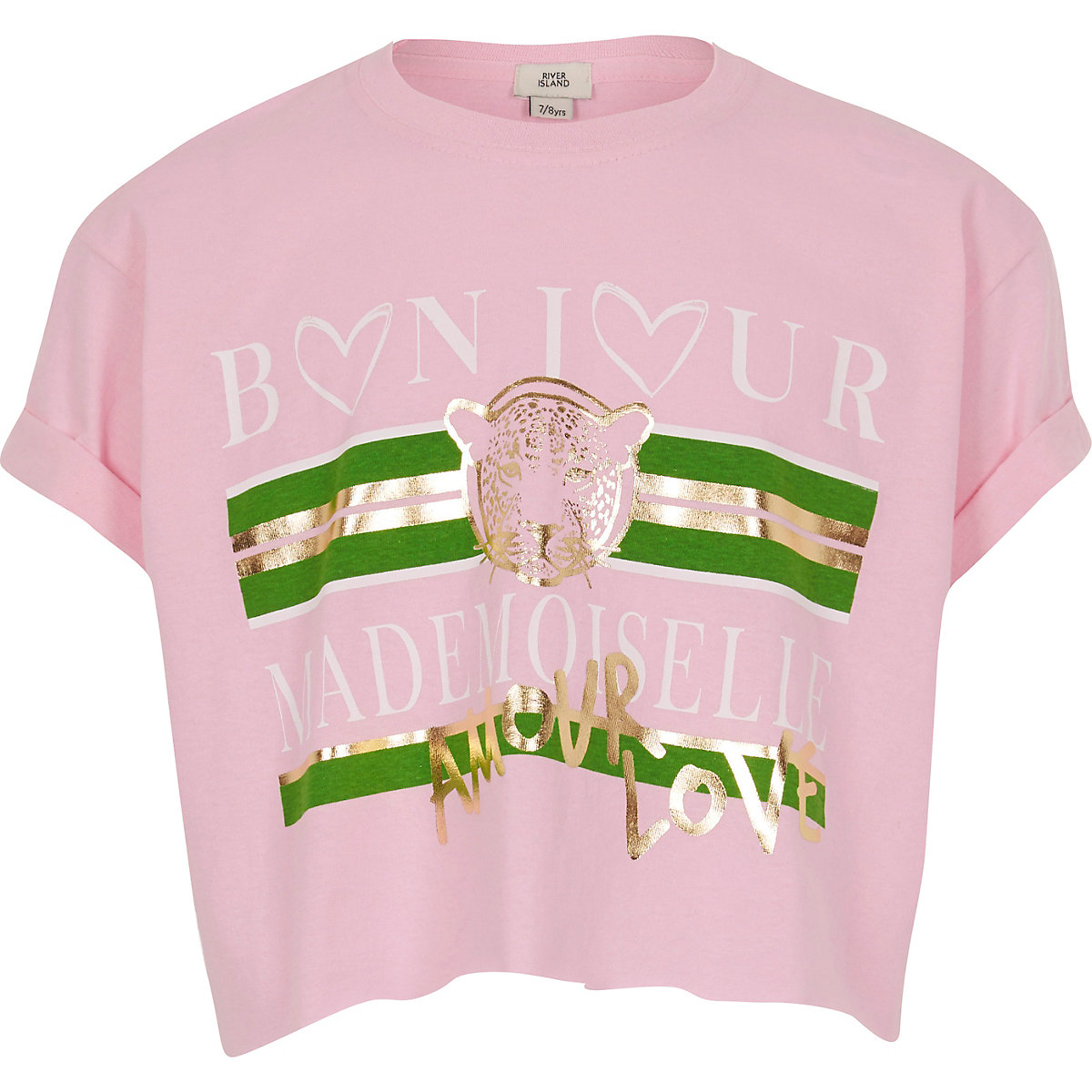 Girls pink 'bonjour' print crop T-shirt