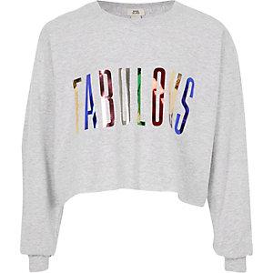 Grijs T-shirt mt 'Fabulous'-folieprint voor meisjes