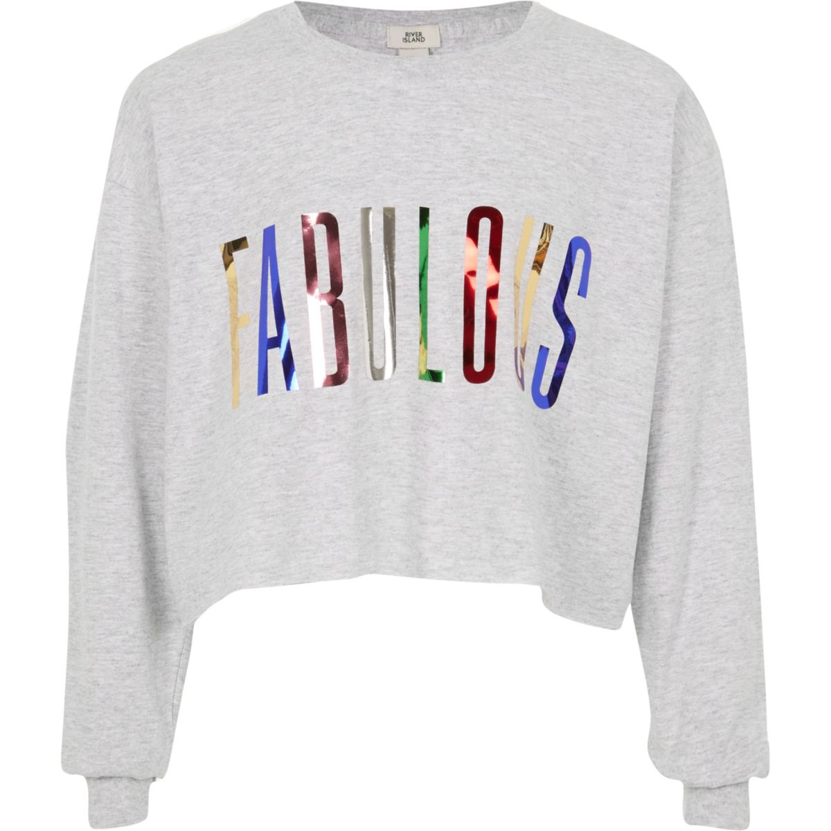 Girls grey 'fabulous' foil print T-shirt