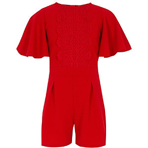 Girls red crochet playsuit