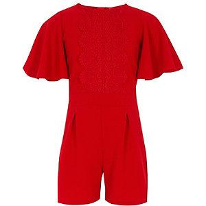 Rode gehaakte playsuit voor meisjes