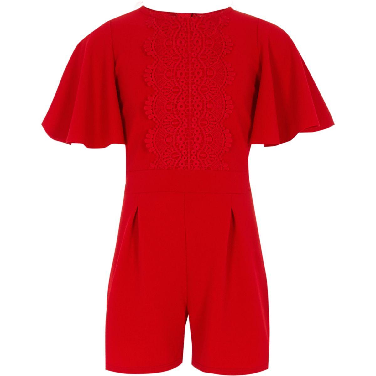 Girls red crochet playsuit