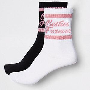 Lot de chaussettes tube «besties» blanches pour fille
