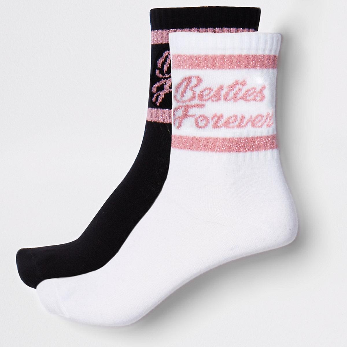 Girls white 'besties' tube socks multpack