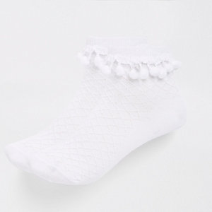 Girls white pom pom embellished socks