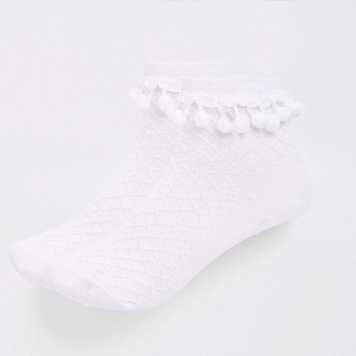 Girls white pom pom embellished socks