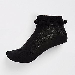 Girls black pom pom embellished socks