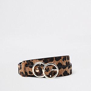 Bruine riem met luipaardprint en dubbele ring