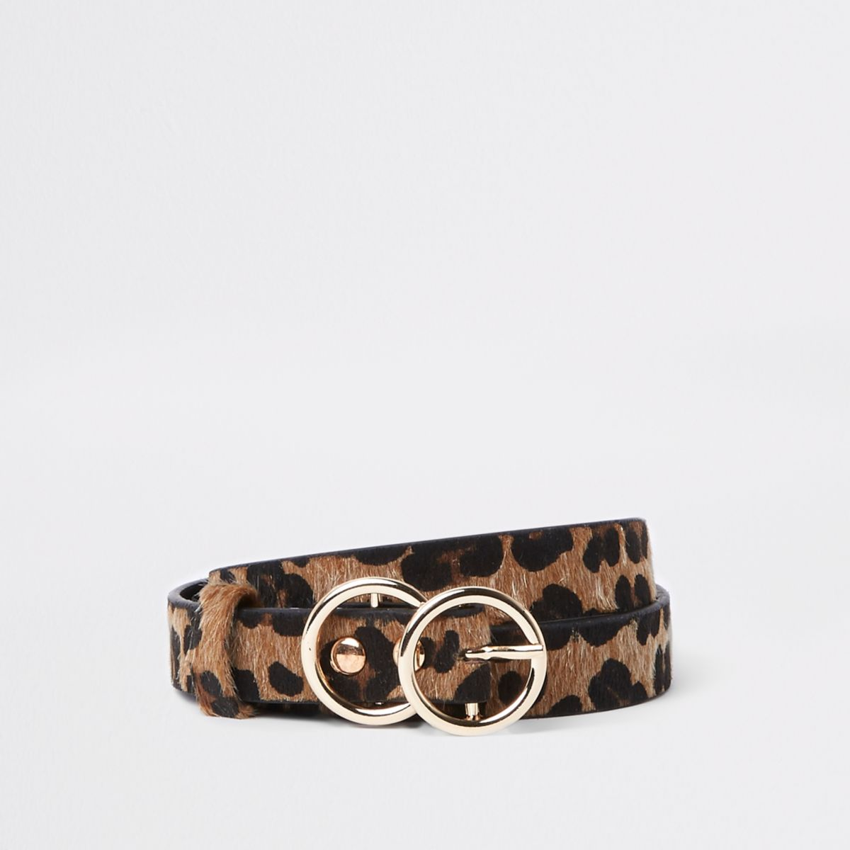 Brown leopard print double ring belt
