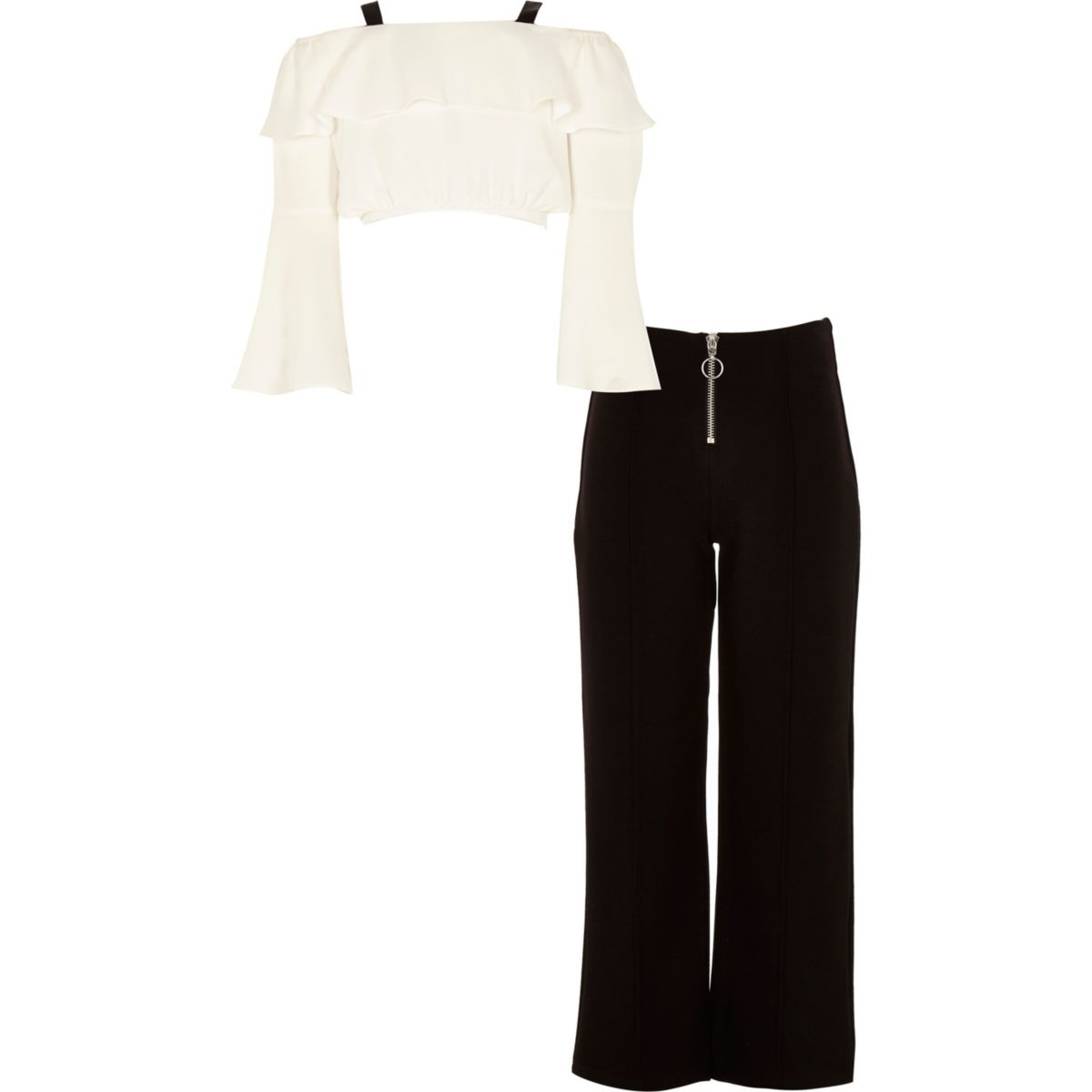 Girls white frill bardot top outfit