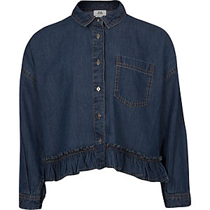 Girls blue denim frill hem boxy shirt