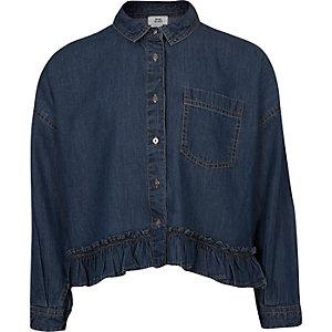 Girls blue denim frill hem boxy shirt