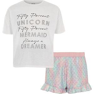 Witte pyjamaset met 'unicorn'-print en ruches voor meisjes