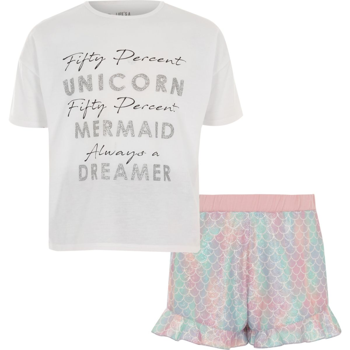 Pyjama avec haut à inscription « Unicorn » blanc et bas à volants fille