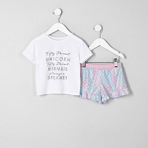 Pyjama avec haut à inscription « Unicorn » blanc et bas à volants mini fille