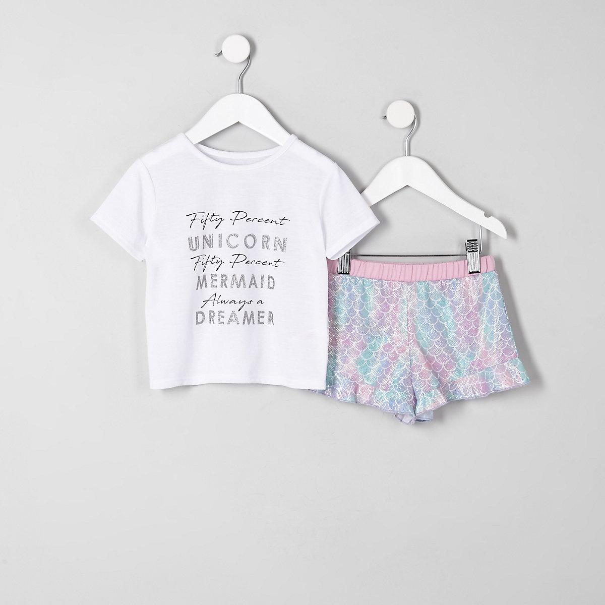 Mini girls white 'unicorn' frill pajama set