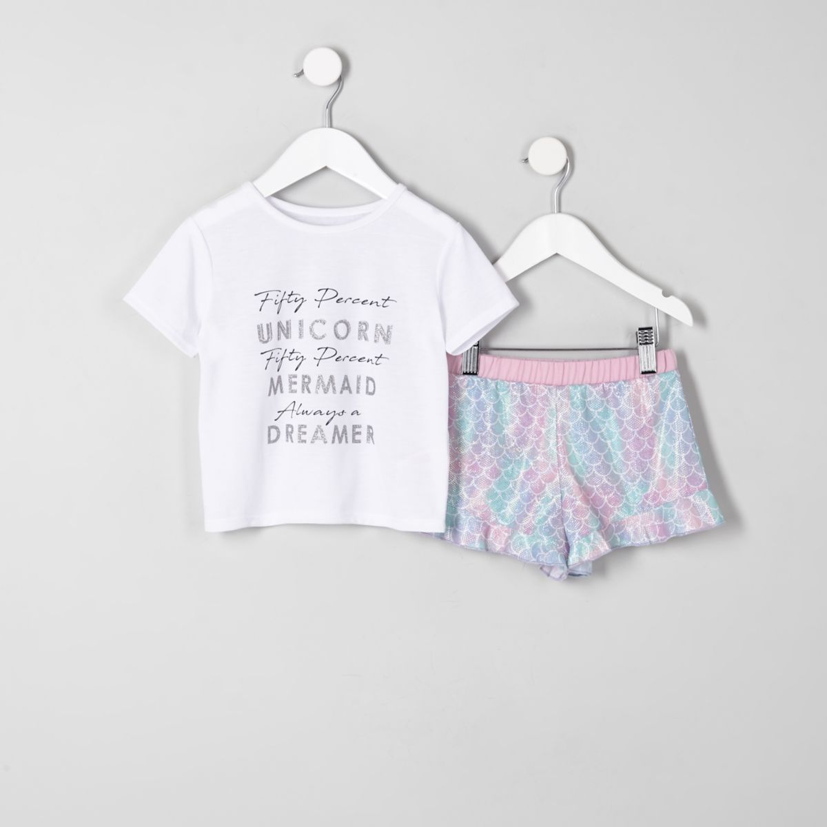 Mini girls white 'unicorn' frill pyjama set