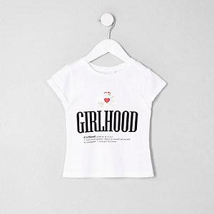 Mini - Wit T-shirt met 'Girlhood'-print voor meisjes
