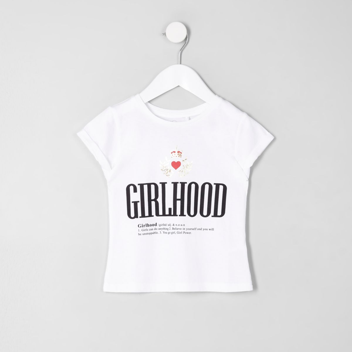 Mini girls white 'Girlhood' print T-shirt