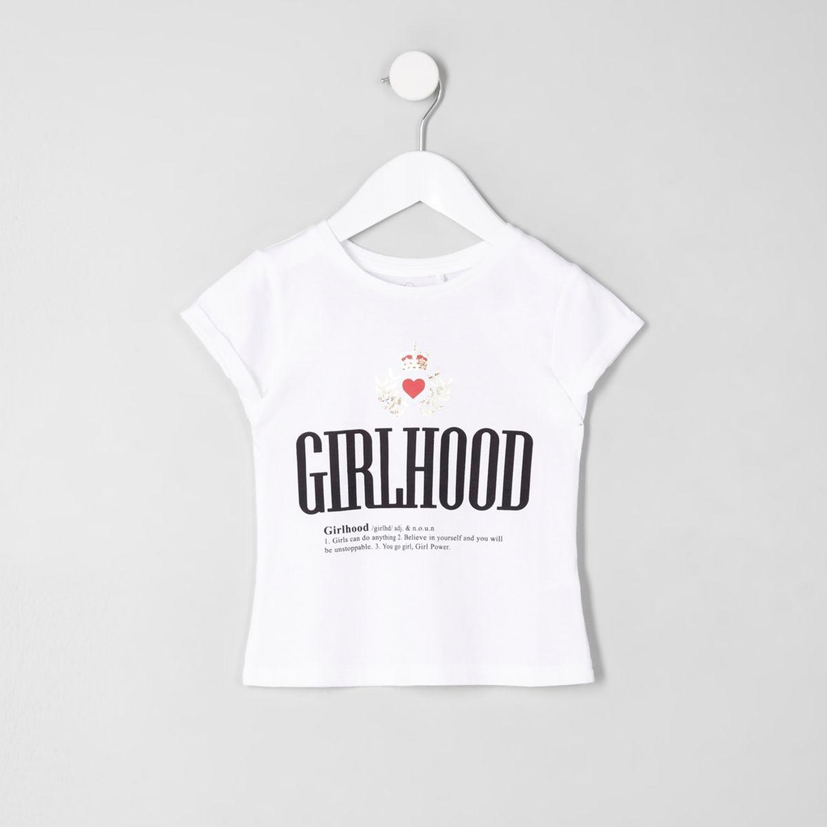 Mini girls white 'Girlhood' print T-shirt