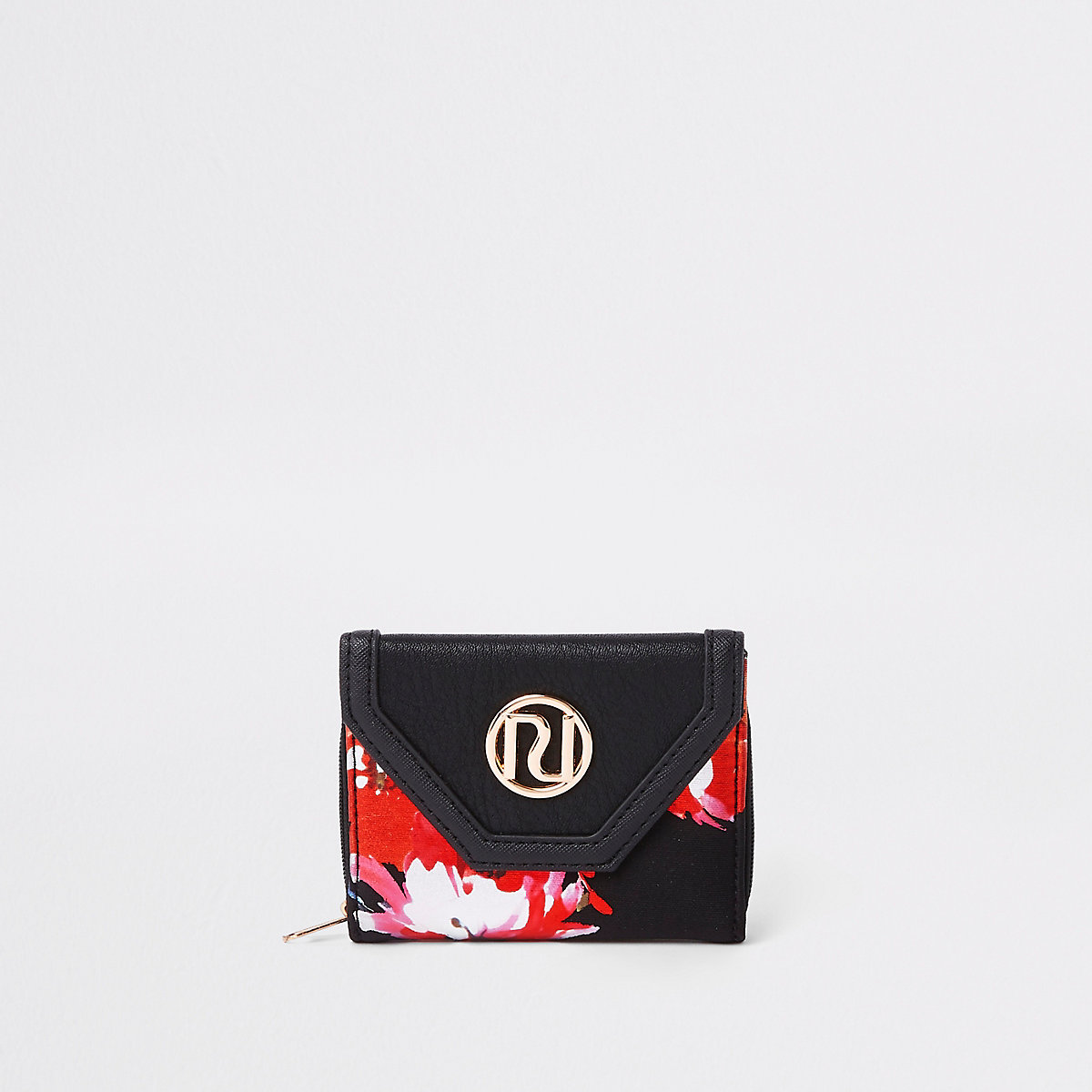Girls RI black floral trifold purse