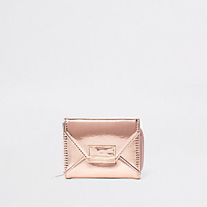 Girls gold metallic envelope trifold purse