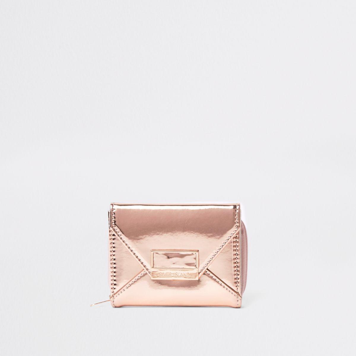 Girls gold metallic envelope trifold purse