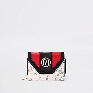Crème uitvouwbare portemonnee met bloemen en RI-logo voor meisjes