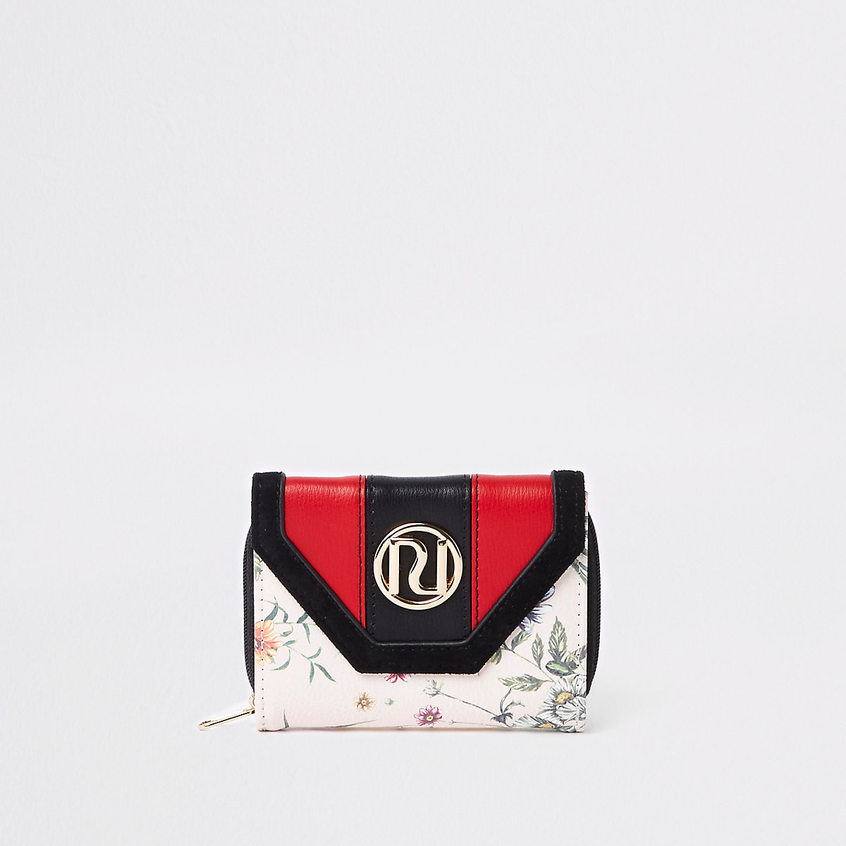Girls cream RI floral small trifold purse