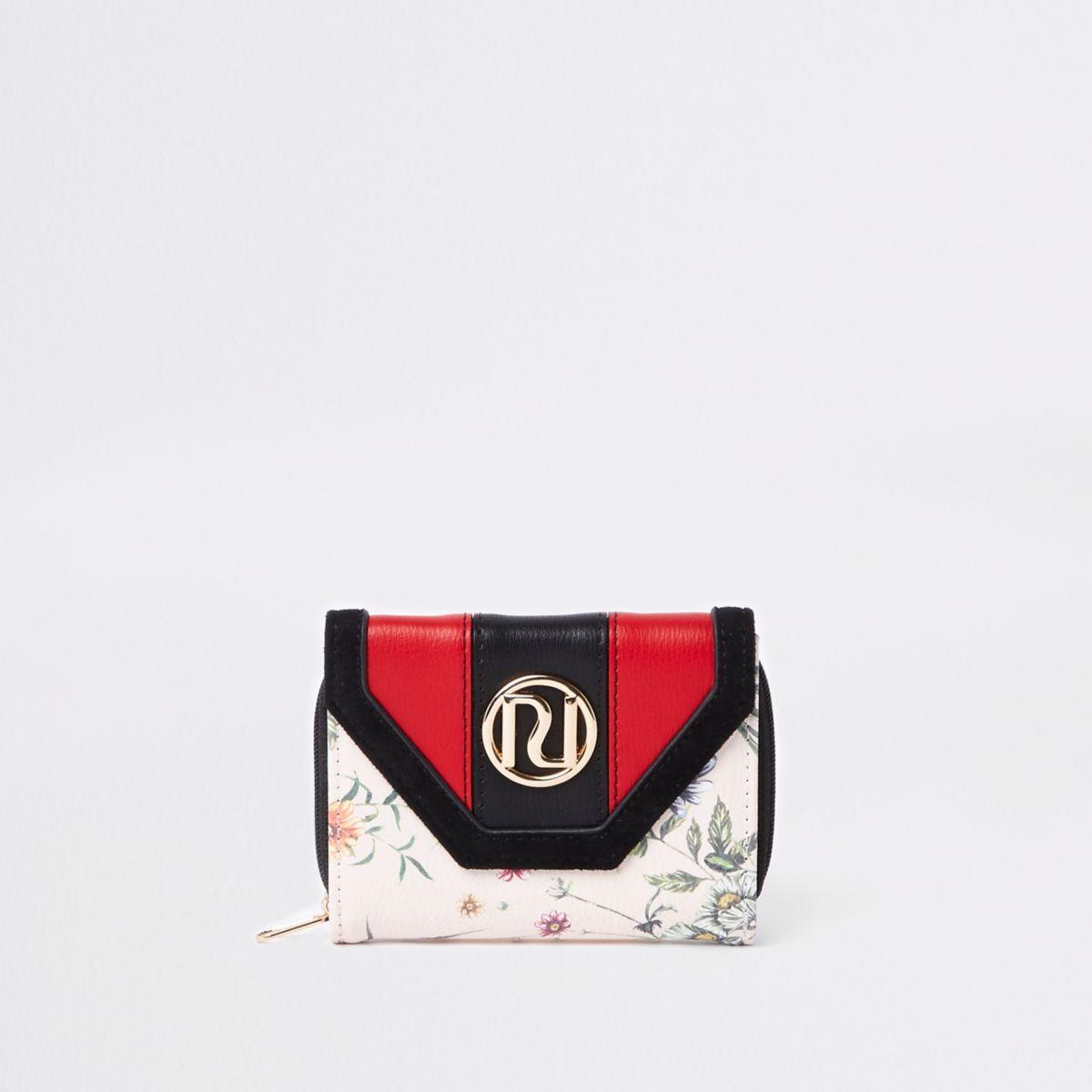 38613ea6bb5 Crème uitvouwbare portemonnee met bloemen en RI-logo voor meisjes ...