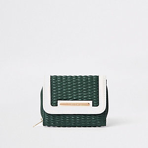 Groene gewatteerde uitvouwbare portemonnee