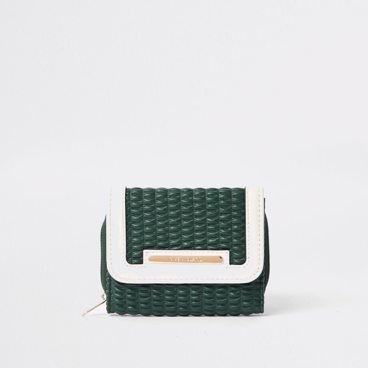 Green quilted trifold purse