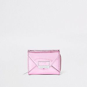 Girls pink metallic envelope trifold purse
