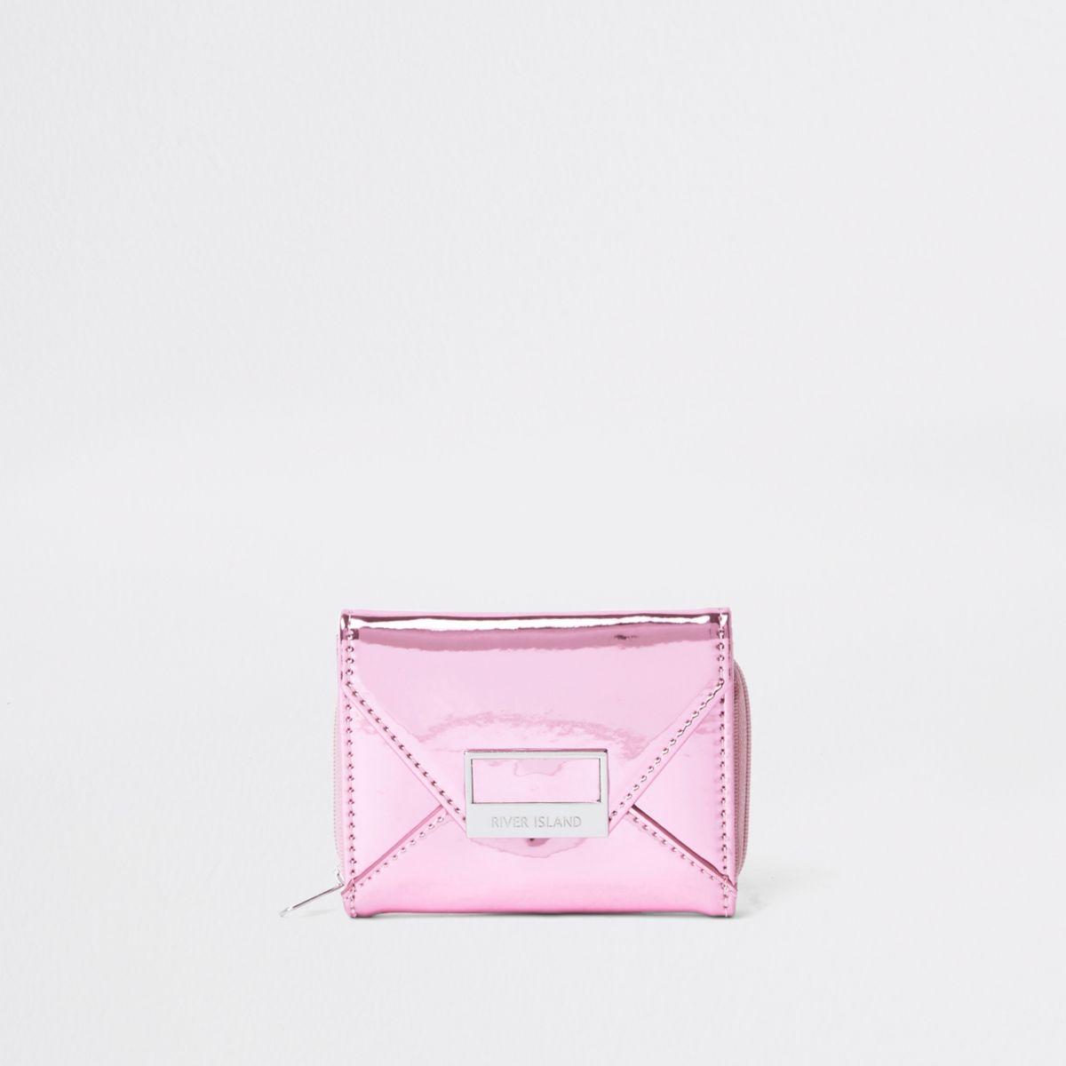 Girls pink metallic envelope trifold purse