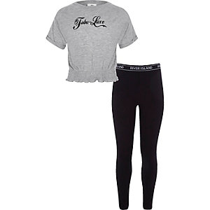 Girls grey T-shirt and RI leggings outfit