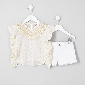 Mini - Outfit met crème kaftan en short voor meisjes