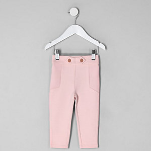 Mini girls pink ponte ribbed leggings