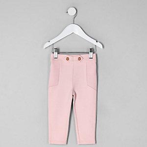 Mini - Roze geribbelde legging van ponte-stof voor meisjes
