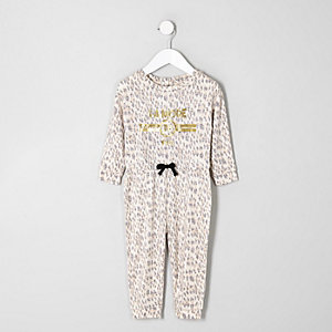 Mini girls brown animal print jumpsuit