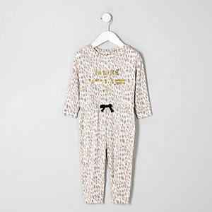 Mini - Bruine jumpsuit met dierenprint voor meisjes
